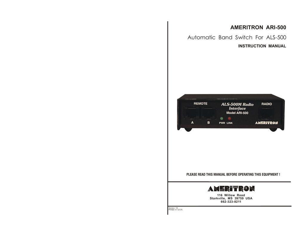 AMERITRON ALS-500M Instruction manual | manualzz com