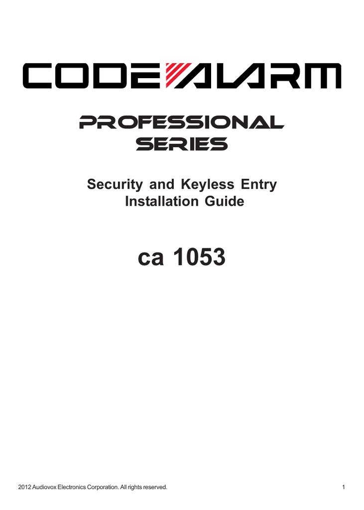 Code Alarm Ca 1053 Installation guide | ManualzzManualzz