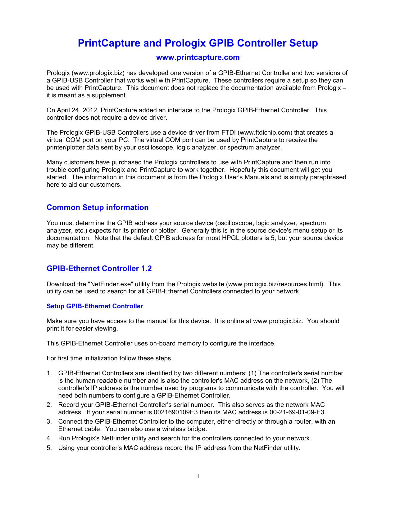 PrintCapture and Prologix GPIB Controller Setup | manualzz com