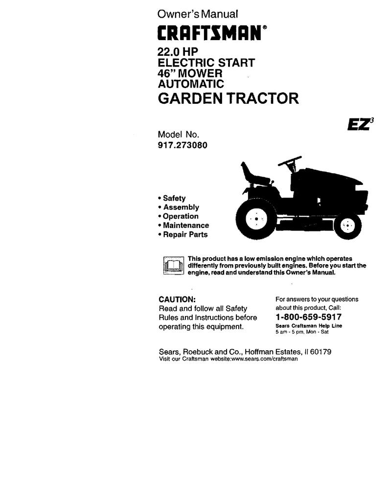 craftsman ez3 917 273080 owner s manual