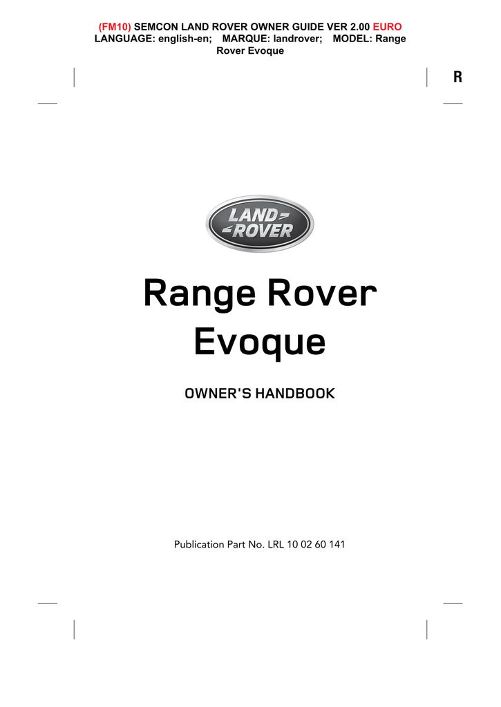 Range Rover Evoque Specifications   manualzz com