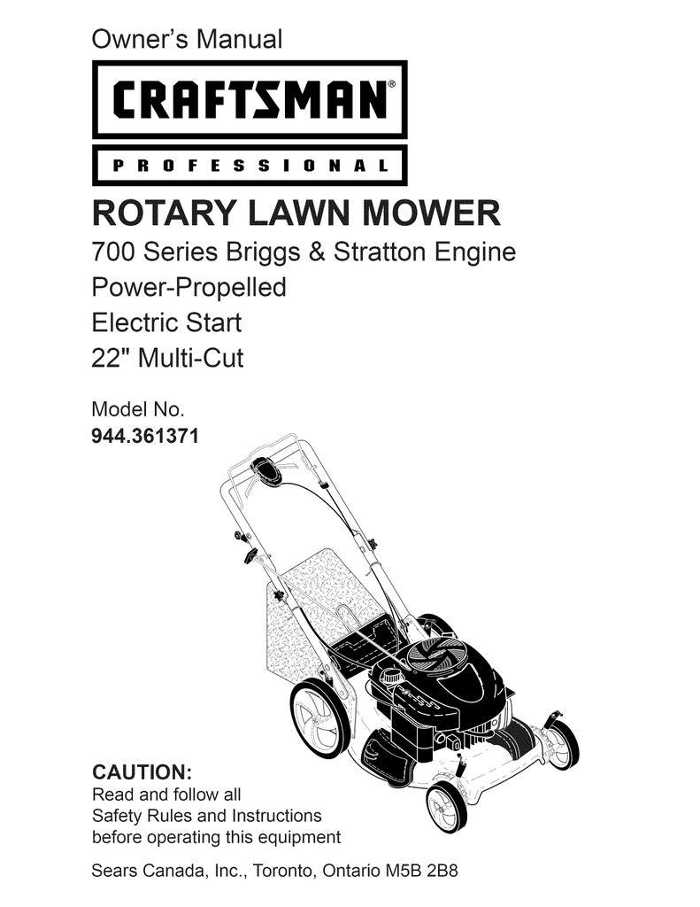 craftsman 944 361371 owner s manual manualzz com rh manualzz com Craftsman Platinum 700 Series Manual Craftsman 675 Series Lawn Mower