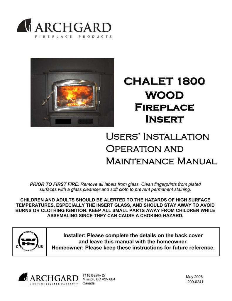 Archgard Chalet 1800 Specifications Manualzz