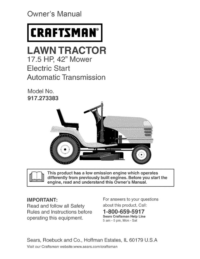 Craftsman 917273383 Owners Manual Taft Tractor Wiring Diagram