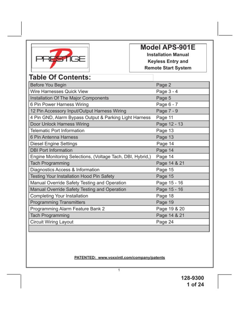 audiovox aps901 - car prestige remote start installation manual   manualzz  manualzz