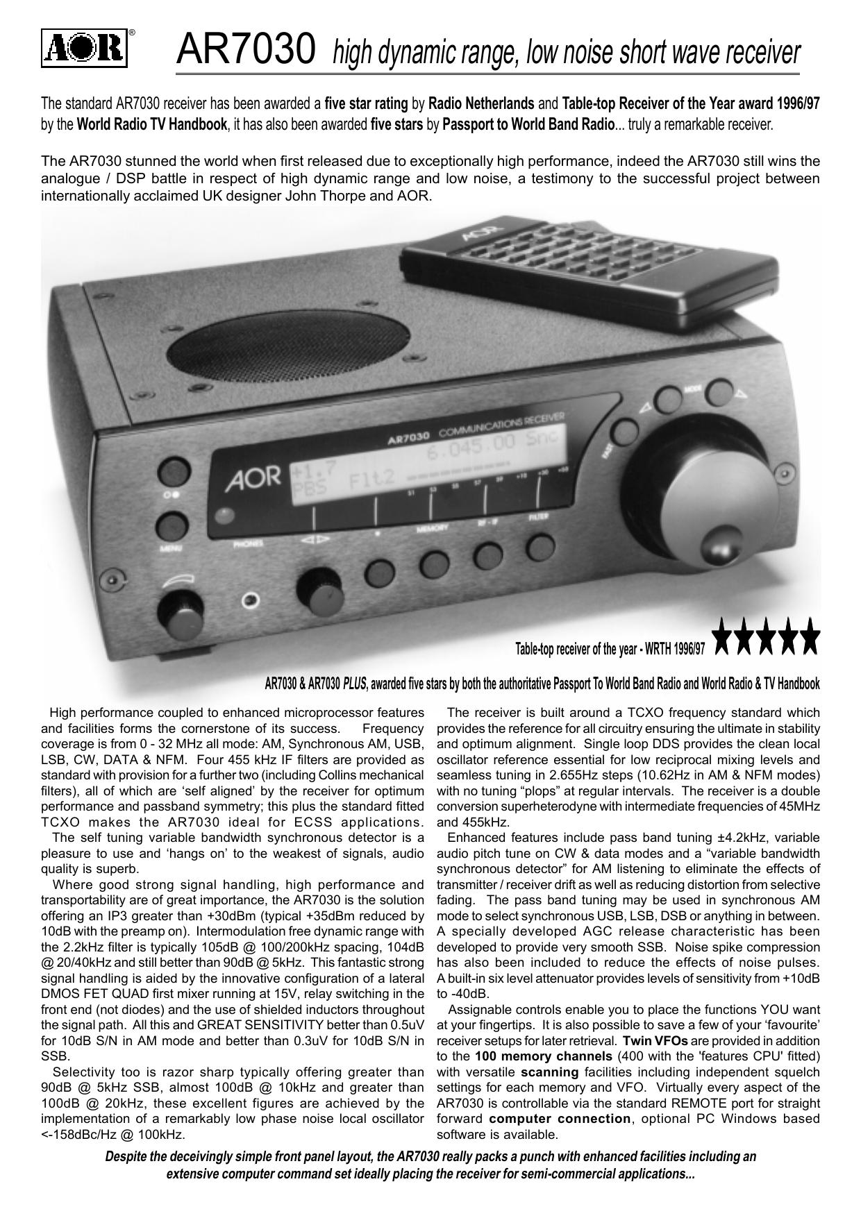 AOR AR-7030 (Plus) data sheet   manualzz com