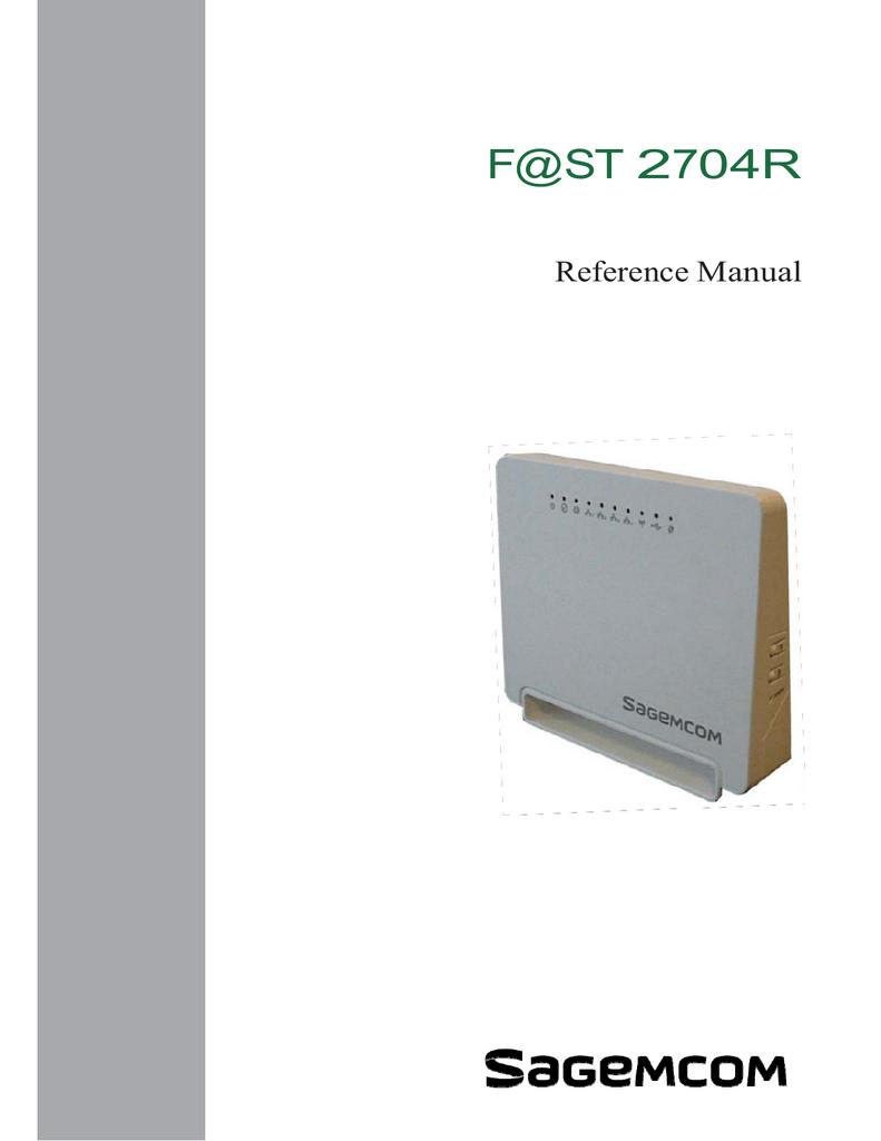 SAGEMCOM F@ST 2704R Installation guide | manualzz com