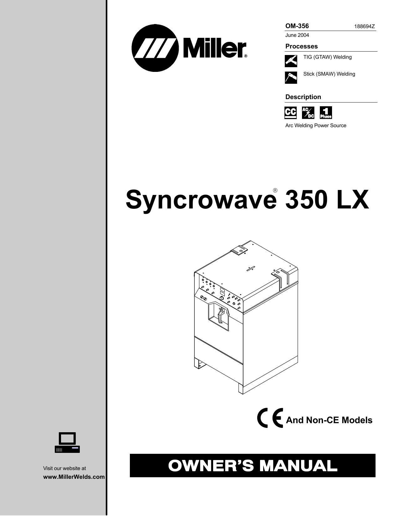 miller syncrowave 350 lx owner`s manual