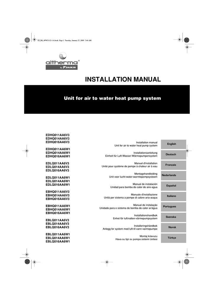 Daikin EBHQ011AA6W1 Installation guide | manualzz.com on