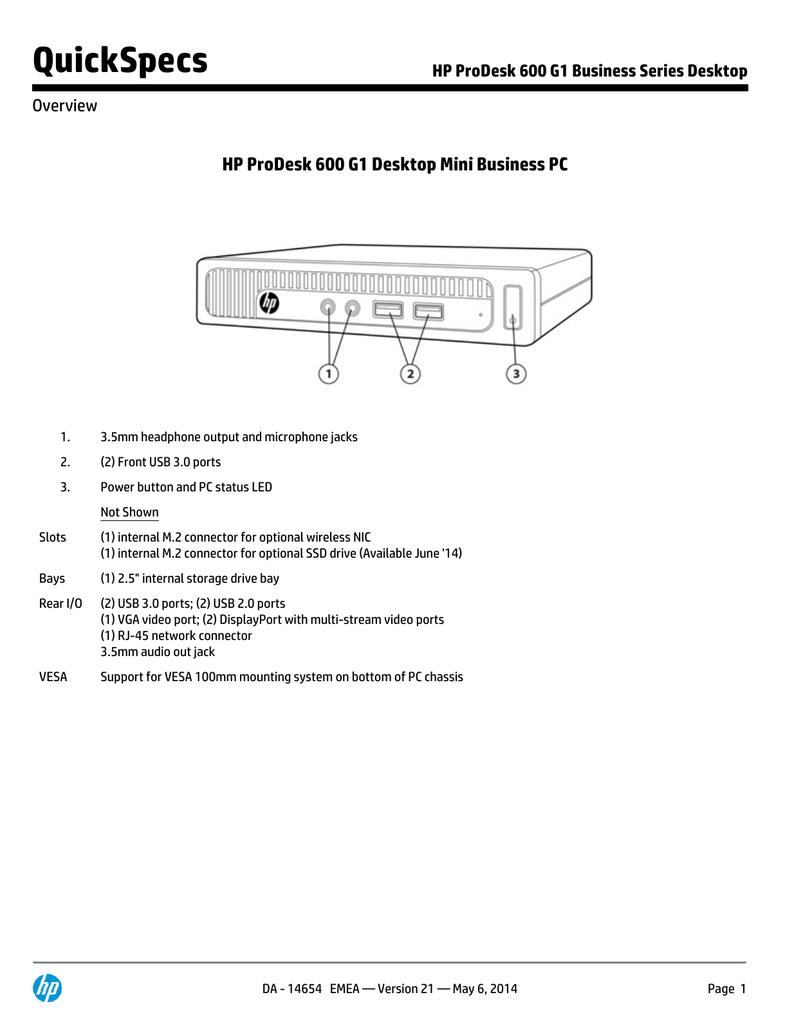 HP ProDesk 600 G1 QuickSpecs   manualzz com