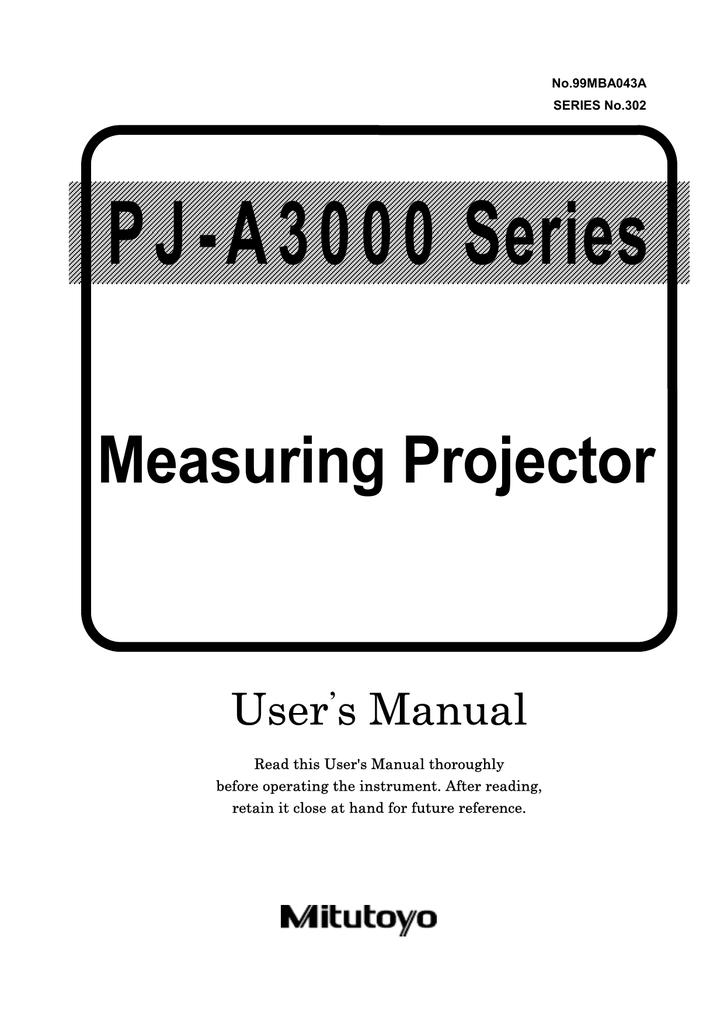 Mitutoyo Measuring Projector User`s manual   manualzz com