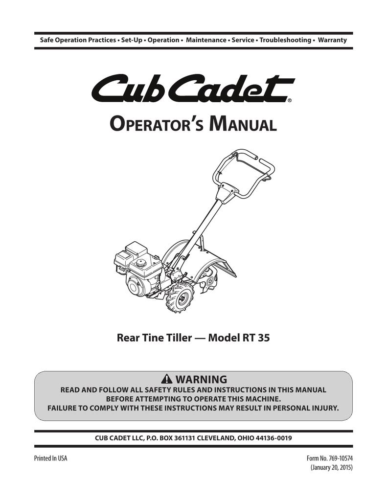 Cub Cadet RT 35 Rear-Tine Garden Tiller Operator`s manual | manualzz com