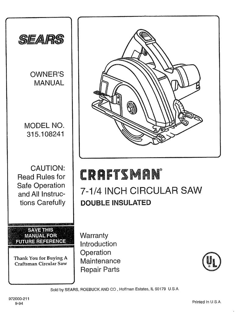 Wiring Diagram For Craftsman Circular Saw