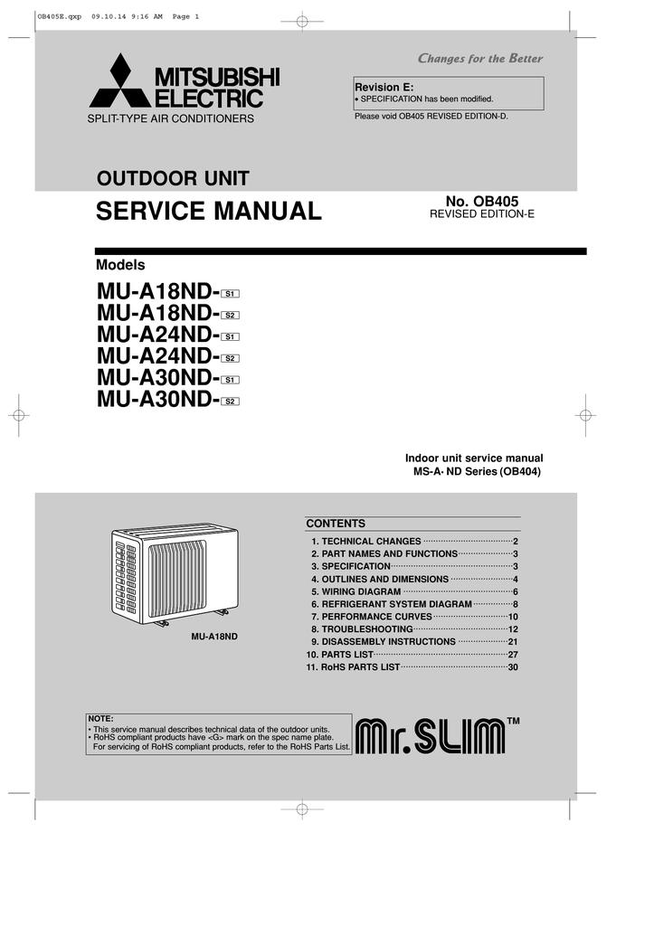 mitsubishi msh a18nd service manual
