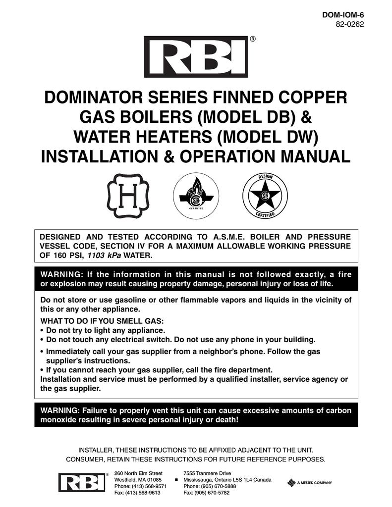 RBI Dominator Series Operating Instructions Manualzzcom - Rbi dominator boiler wiring diagram