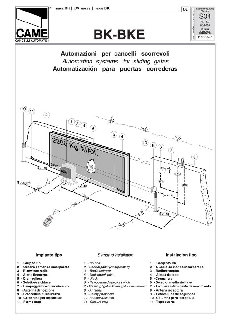Came Bk 1800 Specificazione Manualzz