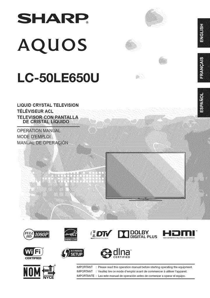 Sharp Aquos LC-50LE650U Operating instructions   manualzz com