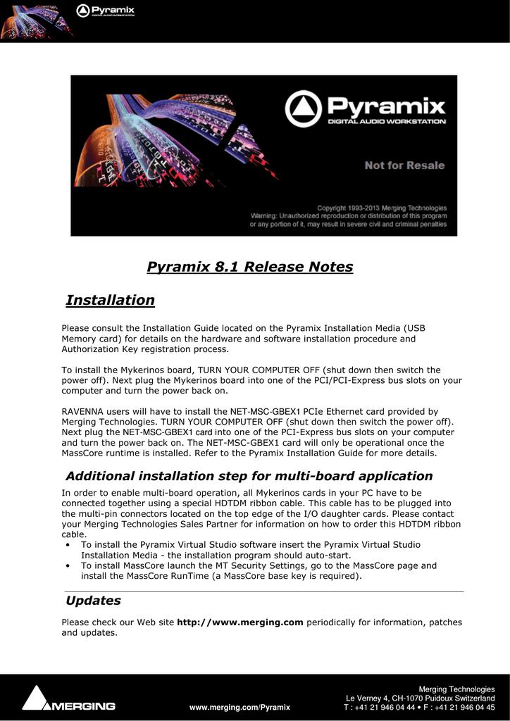 Merging Pyramix Installation guide | manualzz com