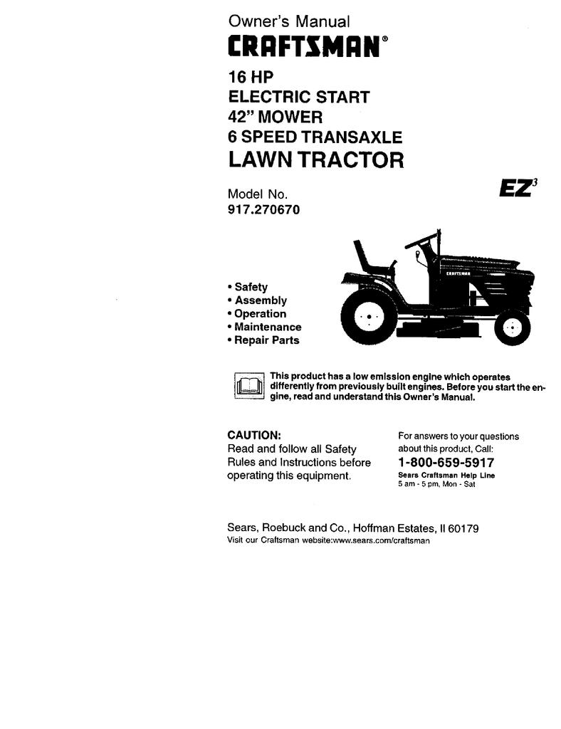 Craftsman EZ3 917 270670 Owner`s manual | manualzz com