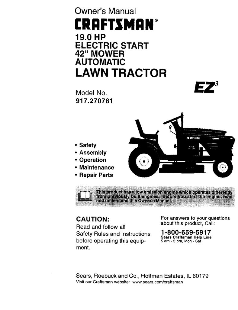 Craftsman EZ3 917.270781 Owner`s manual