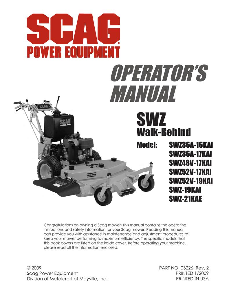 Scag Power Equipment SWZ-20KHE Operator`s manual | manualzz com