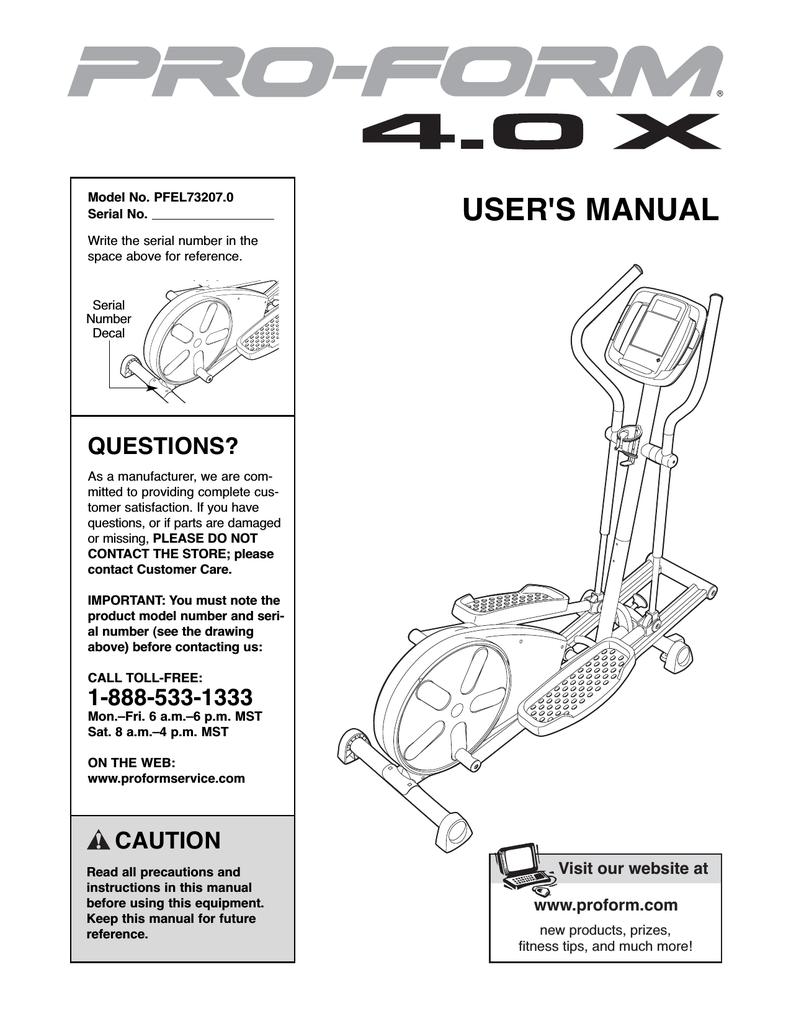 ProForm 4 0 X Elliptical User`s manual | manualzz com