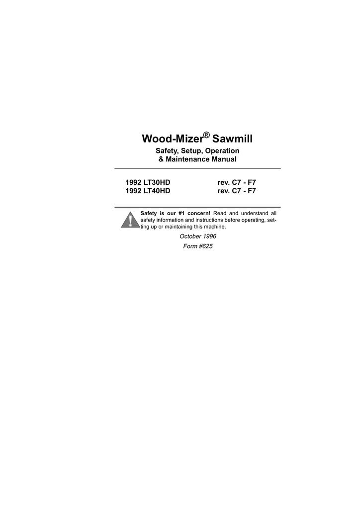 Wood-mizer 1992 LT40HD Operator`s manual | manualzz com