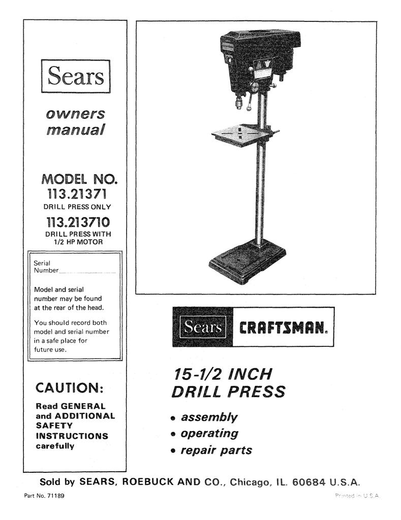 sears 113 21371 owner`s manual
