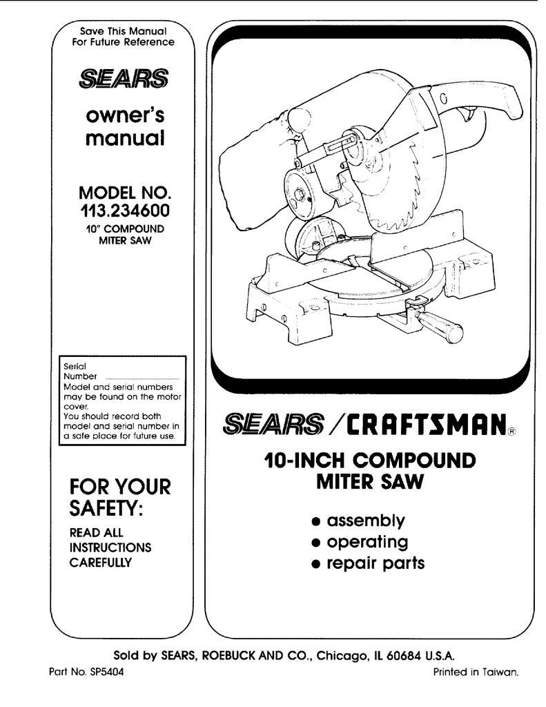 Craftsman 113234600 Owners Manual Compound Miter Saw Wiring Diagram