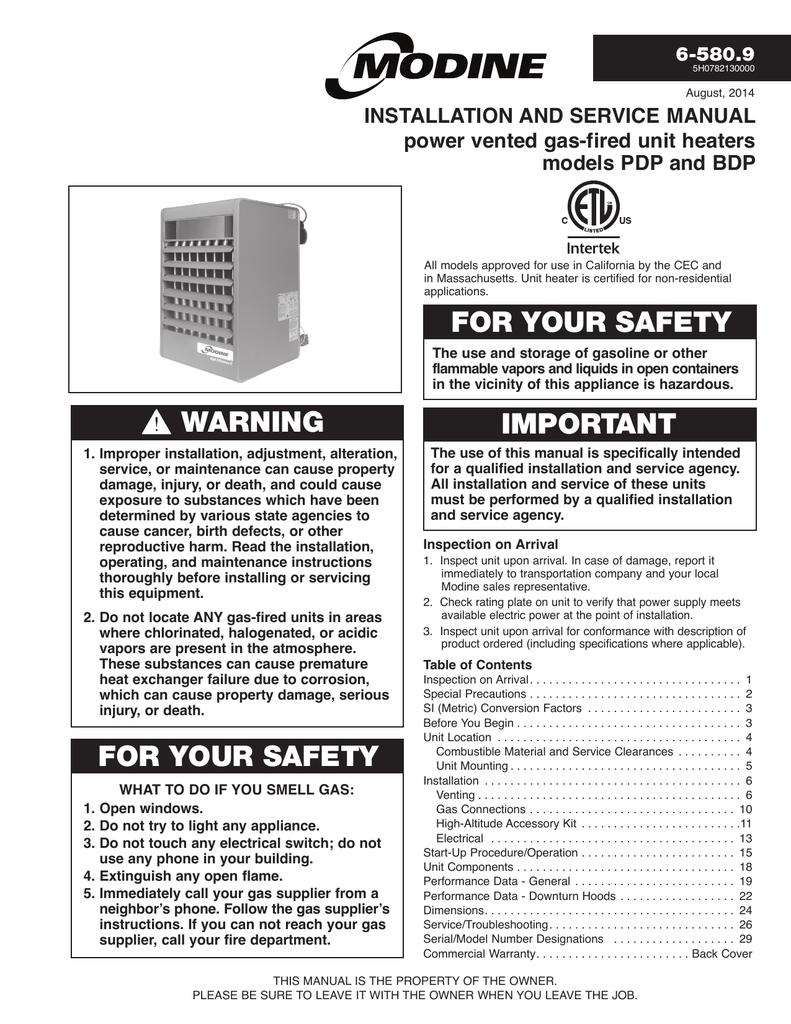 modine manufacturing bdp service manual