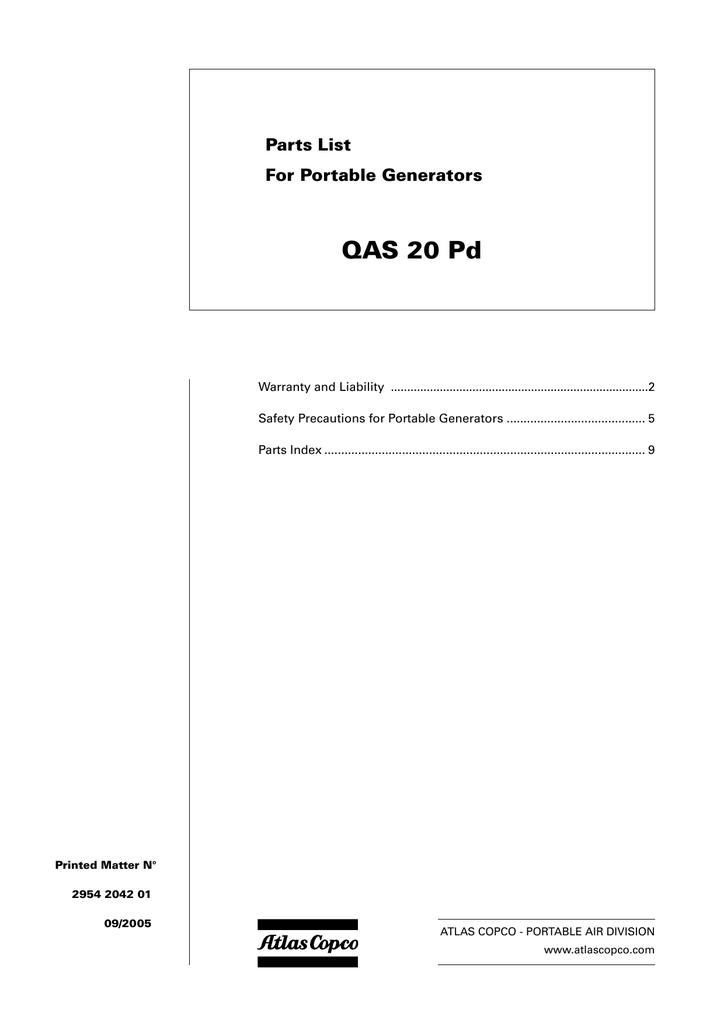Atlas Copco Qas 20 Instruction Manual
