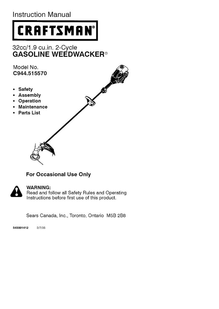 Craftsman WEEDWACKER C944 515570 Instruction manual