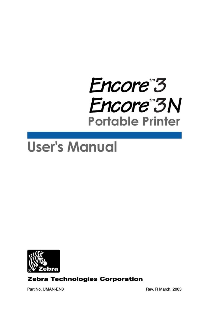 Zebra Encore 3N User`s manual | manualzz com