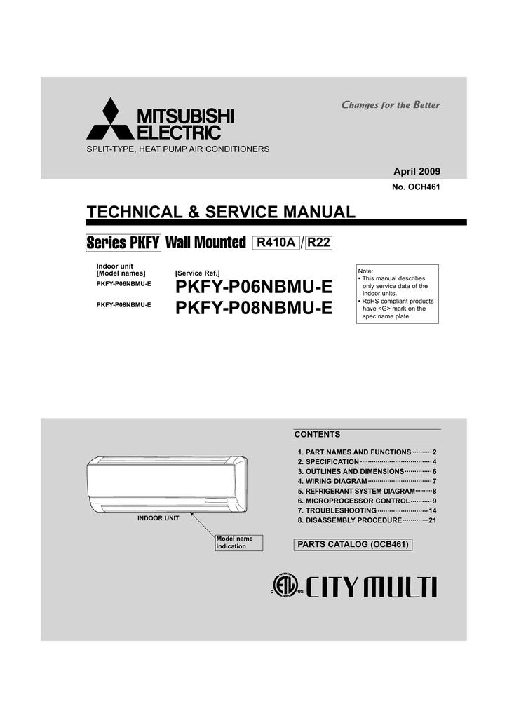 mitsubishi electric city multipmfy-p08nbmu-e service manual