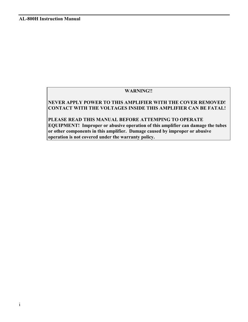 AMERITRON AL-1500 Instruction manual | manualzz com