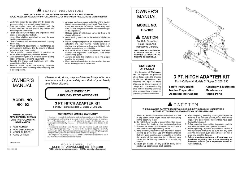 Worksaver HK-102 Owner`s manual | manualzz com