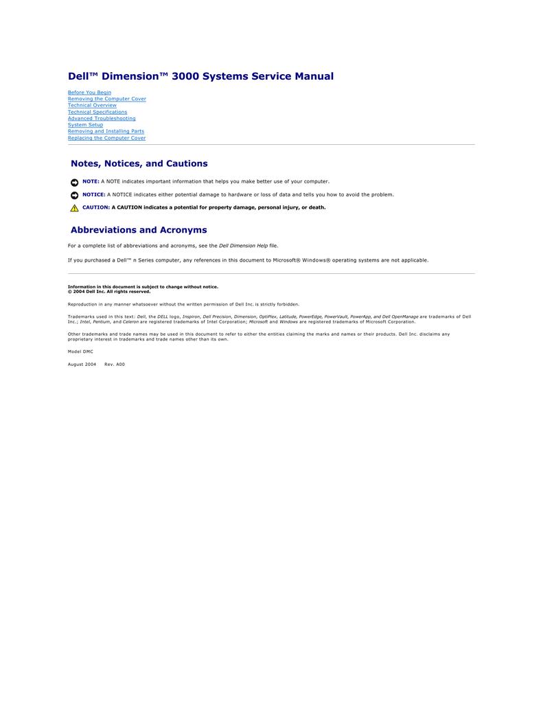 Dell DIMENSION 3000 SYSTEMS DMC Specifications | manualzz com