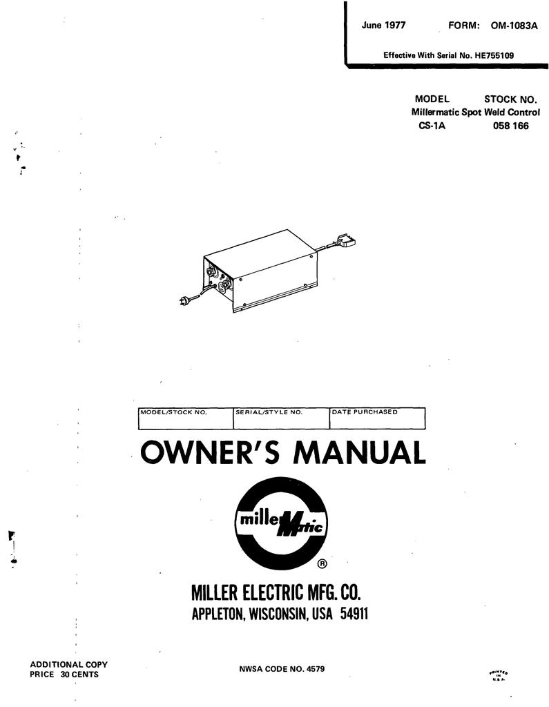 L Miller Electric Spot Welding Electrical Diagram