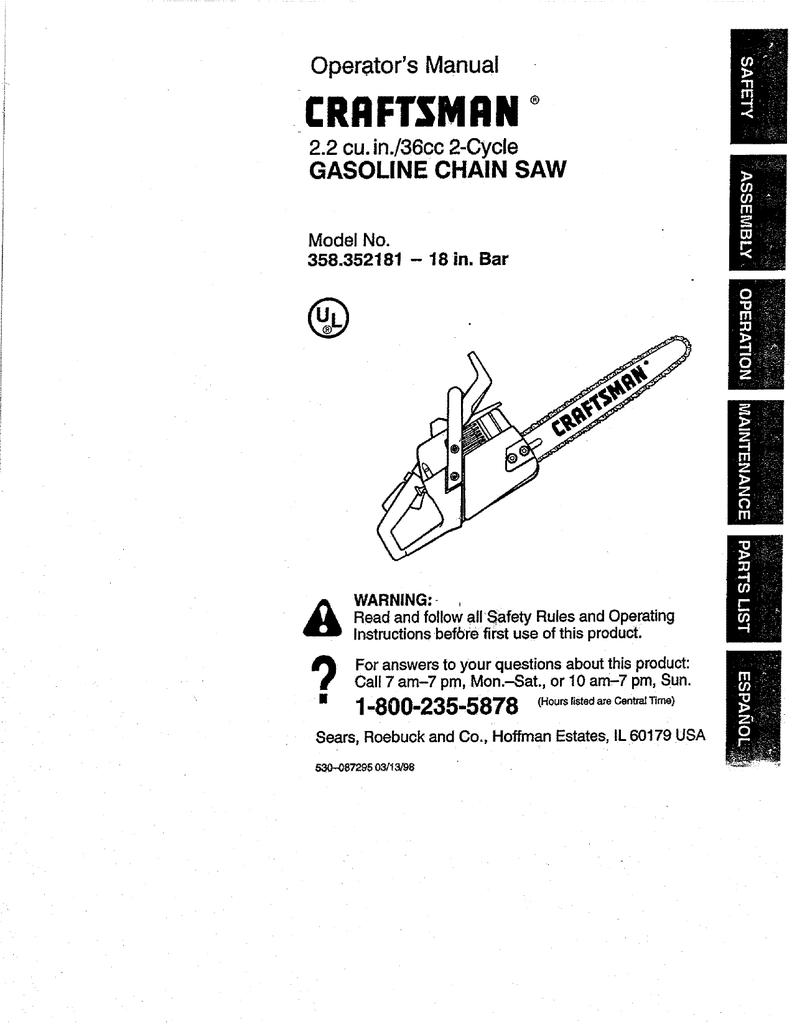 Craftsman 358352181 Operators Manual Chainsaw Wiring Diagram