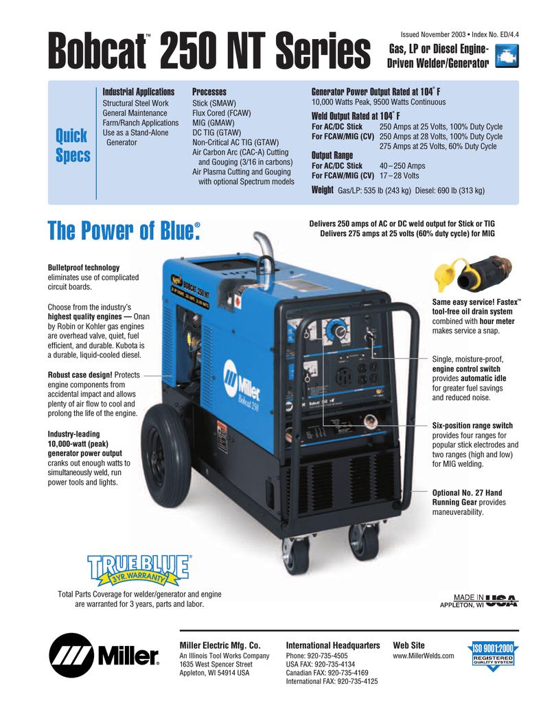 Miller Bobcat 225 Welder Generator w// Kohler