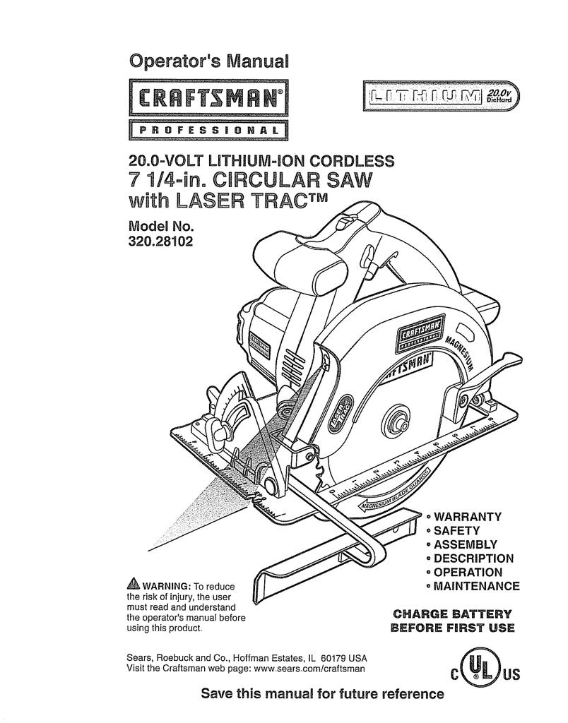 Craftsman 32028102 Operators Manual Wiring Diagram For Circular Saw