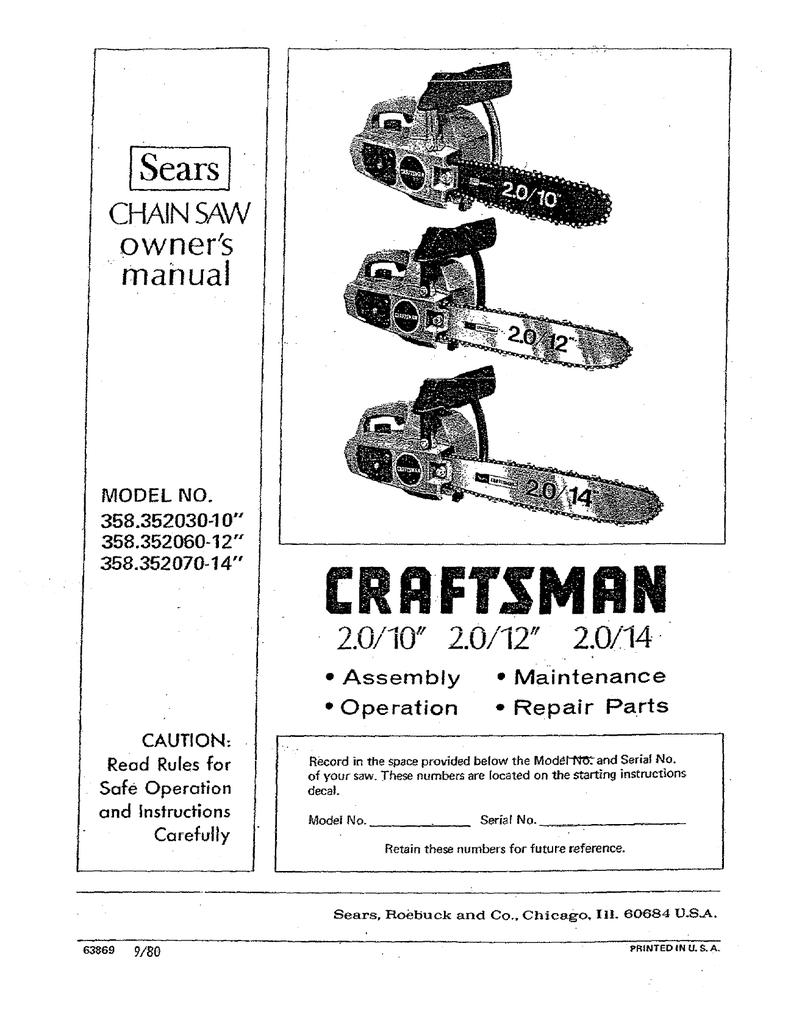 Craftsman 358 352060 Owner`s manual   manualzz com