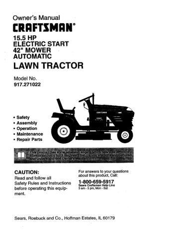 Craftsman 917 271022 Owner S Manual, Sears Craftsman Lawn Mower Wiring Diagram