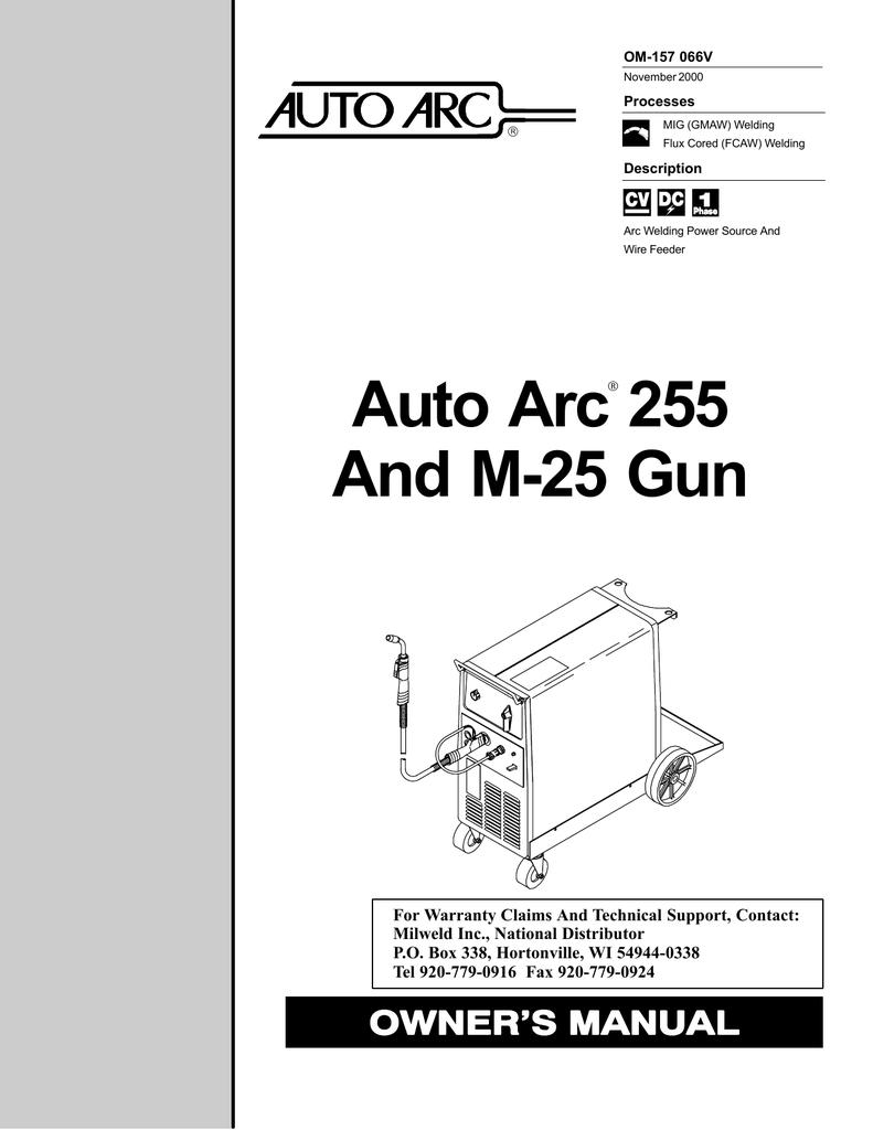 Auto Arc 255 Specifications Welding Process Diagram