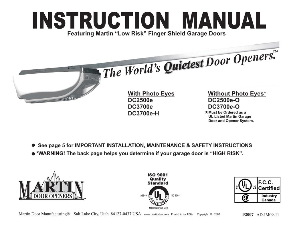 Martin Garage Door Opener Dc3700e Manual Dandk Organizer