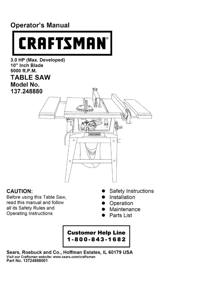 [WQZT_9871]  Craftsman 137.248880 Operator`s manual | Manualzz | Wiring Diagram For Craftsman Table Saw |  | manualzz
