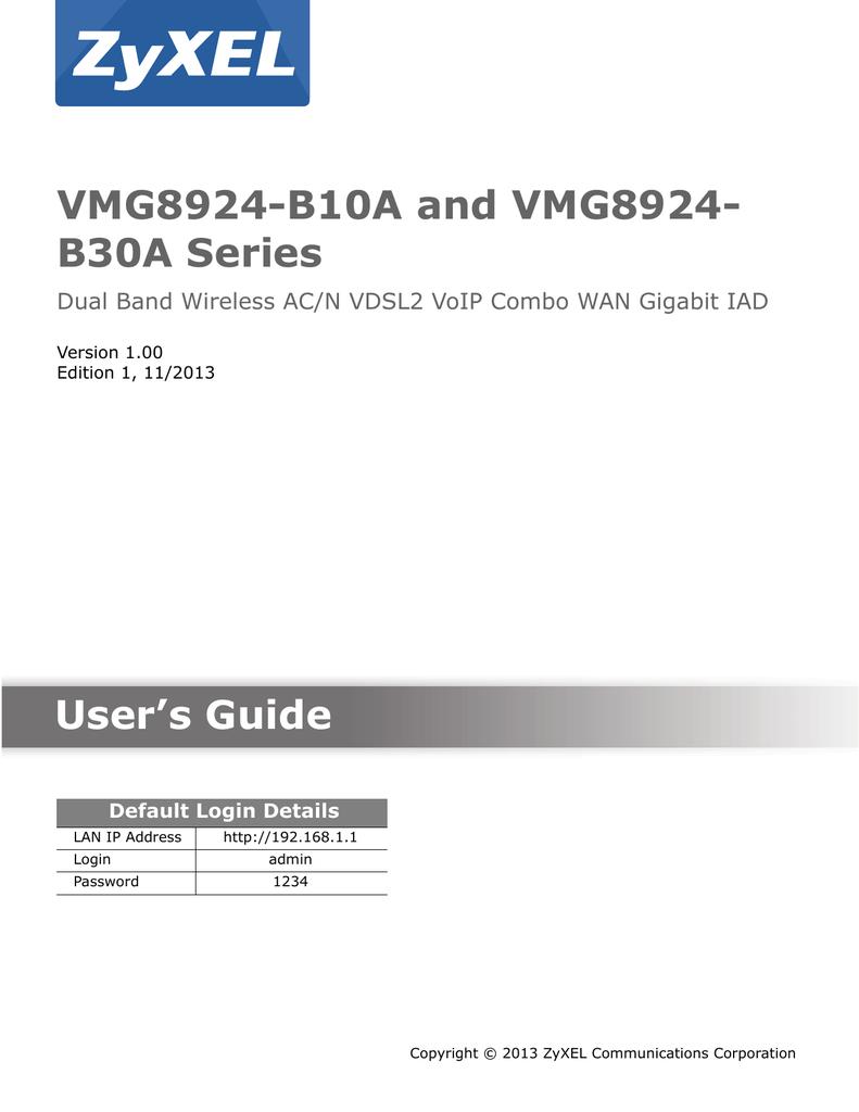 ZyXEL Communications VMG8924-B30A Series User`s guide | manualzz com