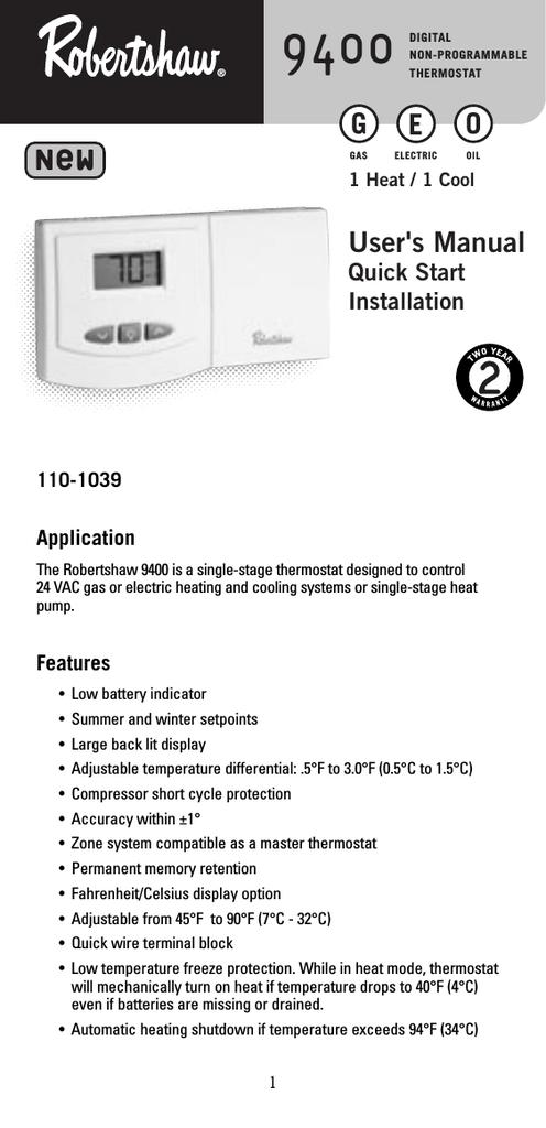 Robertshaw 9400 User`s manual | manualzz.com on