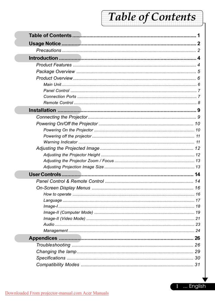 Страница 4/35] инструкция по эксплуатации: проектор acer ph110.
