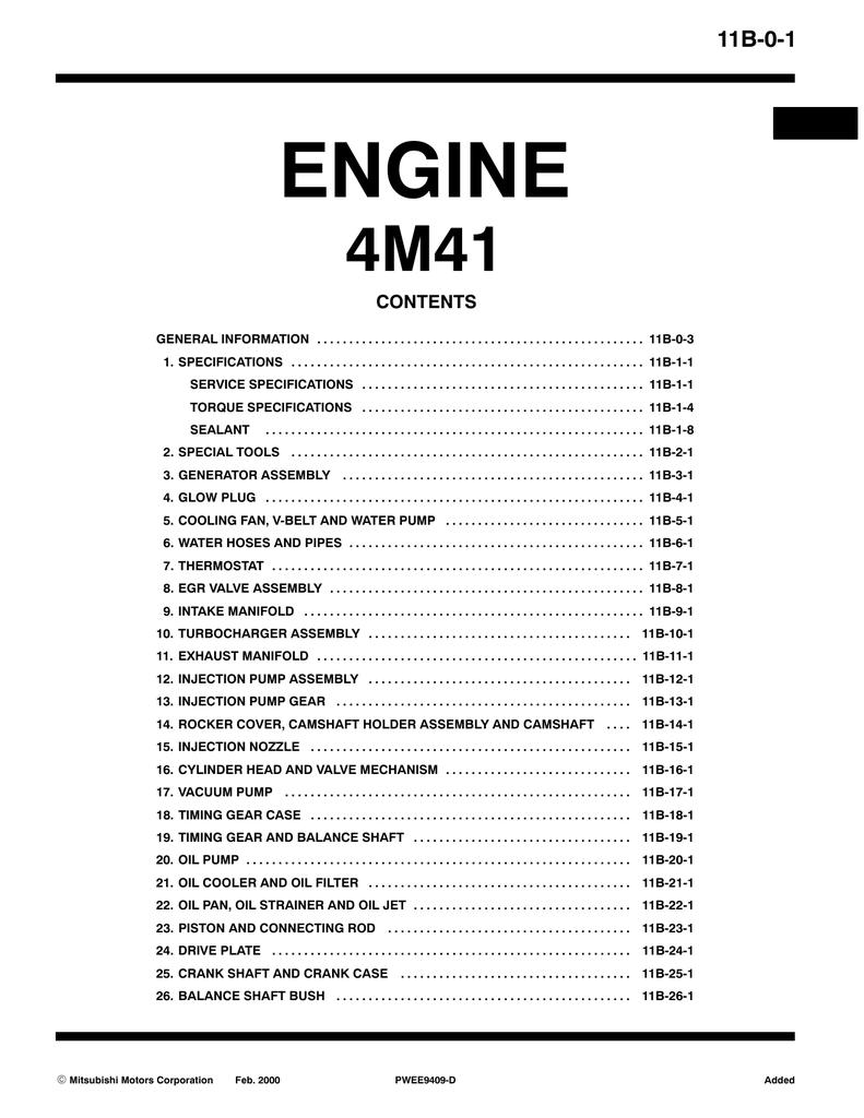 Mitsubishi 4M41 Specifications | manualzz com